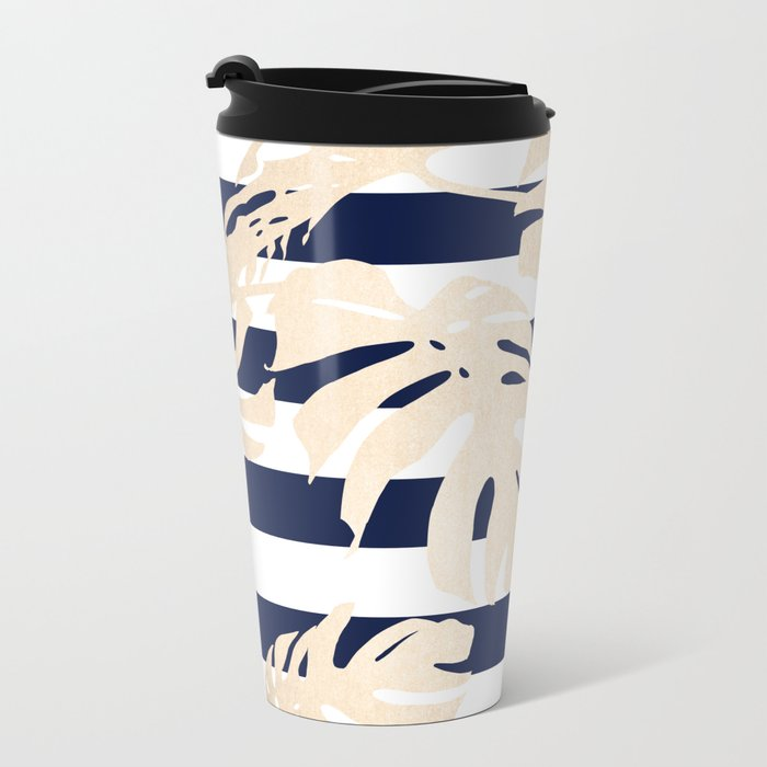 Simply Tropical Palm Leaves on Navy Stripes Metal Travel Mug