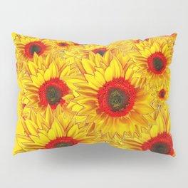 Golden Color Red Center Yellow Sunflower Art Pillow Sham