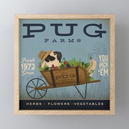 Pug Farms dog farm cart garden art Framed Mini Art Print