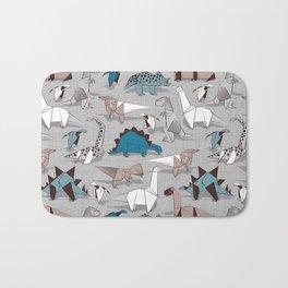 Origami dino friends // grey linen texture blue dinosaurs Bath Mat