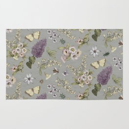 spring flowers with butterfly and beetles I Rug