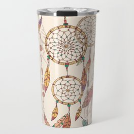 Bohemian dream catcher with beads and feathers Travel Mug