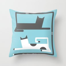 CATS IN LOVE BLUE (abstract animals) Throw Pillow