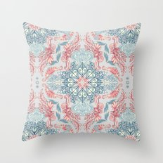 Vintage Fancy - a Pattern in Pale Blue, Navy & Deep Rose Throw Pillow