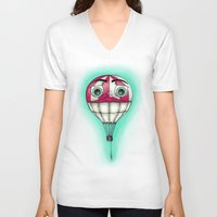 baloon V-neck T-shirts featuring Acrophobia Baloon by Tayler Kiiim