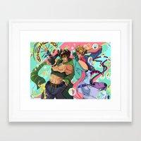 jjba Framed Art Prints featuring JoJo & Caesar JJBA Battle Tendency by Lemonade Stand Of Life