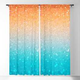 Glitter Teal Gold Coral Sparkle Ombre Blackout Curtain