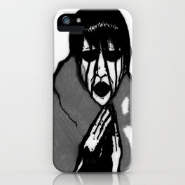 """Fluffy Manson"" in Black&White iPhone Case"