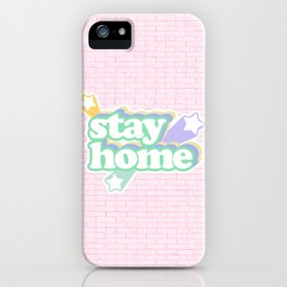 Stay Home / Pastel Pink Bricks iPhone Case