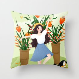 Beautiful Flower Lady Paint Throw Pillow