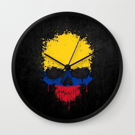 Flag of Colombia on a Chaotic Splatter Skull Wall Clock