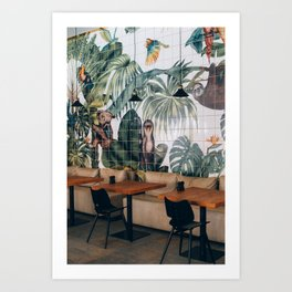 Coffee Spot with Tropical Backdrop in Greece Art Print