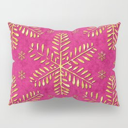 DP044-1 Gold snowflakes on pink Pillow Sham