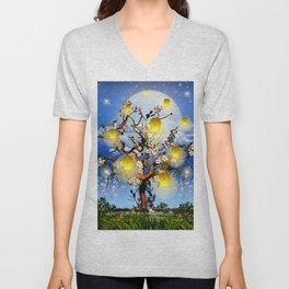 Cherry tree blossom garden with yellow lanterns and moonlight Unisex V-Neck