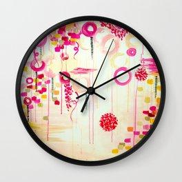 BALLOON LOVE Bubblegum POP! Beautiful Cheerful Bubbles Pretty Pink  Abstract Acrylic Painting Sky Wall Clock