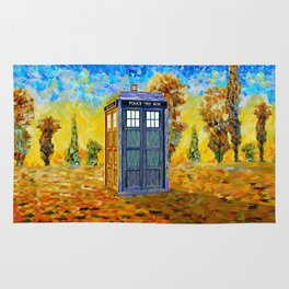 Blue phone Booth at Fall Grass Field Painting Rug