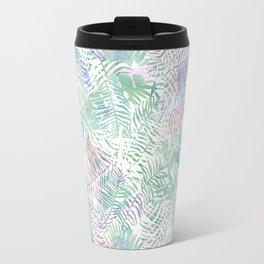 Pastel pink lavender green watercolor tropical leaves Travel Mug