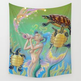 Song For Pseudemys, Turtle Mermaid Art Wall Tapestry