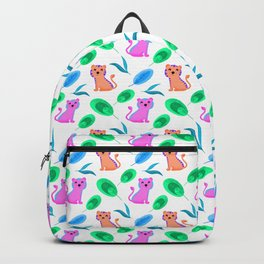 Funny cute happy little baby pink orange tigers tropical exotic green blue leaves jungle pattern Backpack
