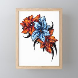 flower drawing Framed Mini Art Print