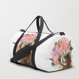 Highland Cow with Flower Crown Duffle Bag
