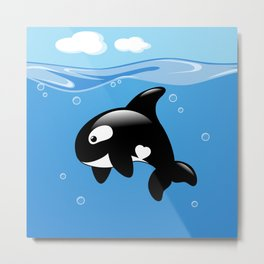 Orca, Cute Killer Whale Metal Print