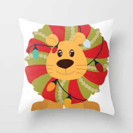 Your Big Cat in Decorative Christmas Wreath Throw Pillow