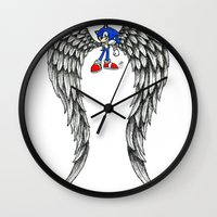sonic Wall Clocks featuring Sonic Angel by Hollie B