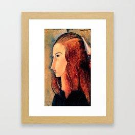 "Amedeo Modigliani ""Portrait of a young woman (Profile of Jeanne Hebuterne)"" Framed Art Print"