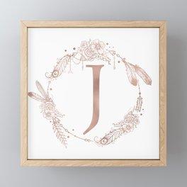 Letter J Rose Gold Pink Initial Monogram Framed Mini Art Print