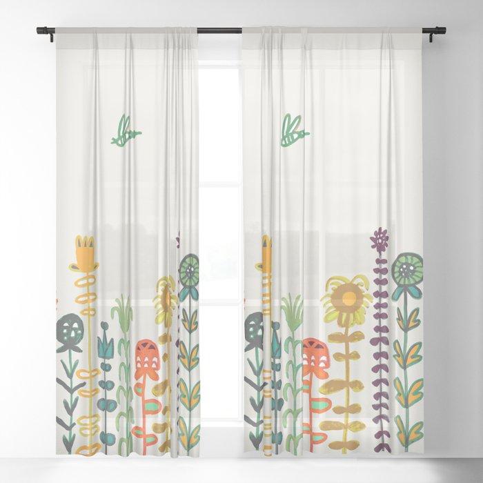 Happy garden Sheer Curtain