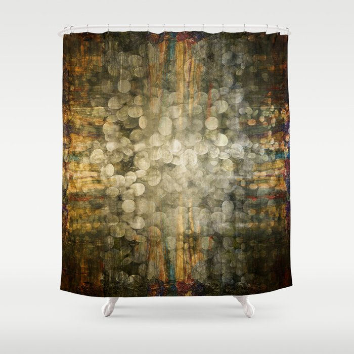 Abstract Golden River Pebbles Shower Curtain