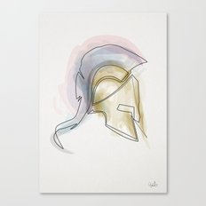 One line Leonidas helmet Canvas Print