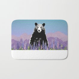 Black Bear in Lupine Bath Mat