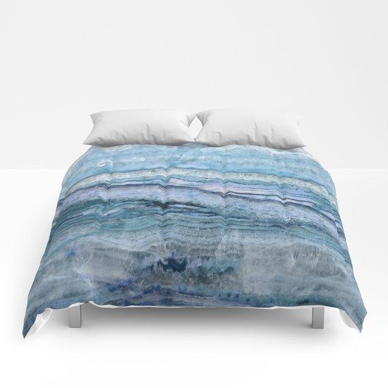 Mystic Stone Aqua Blue Comforters