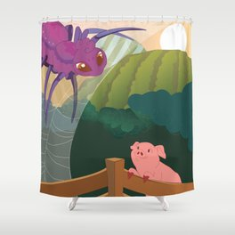 The spider and the pig Shower Curtain