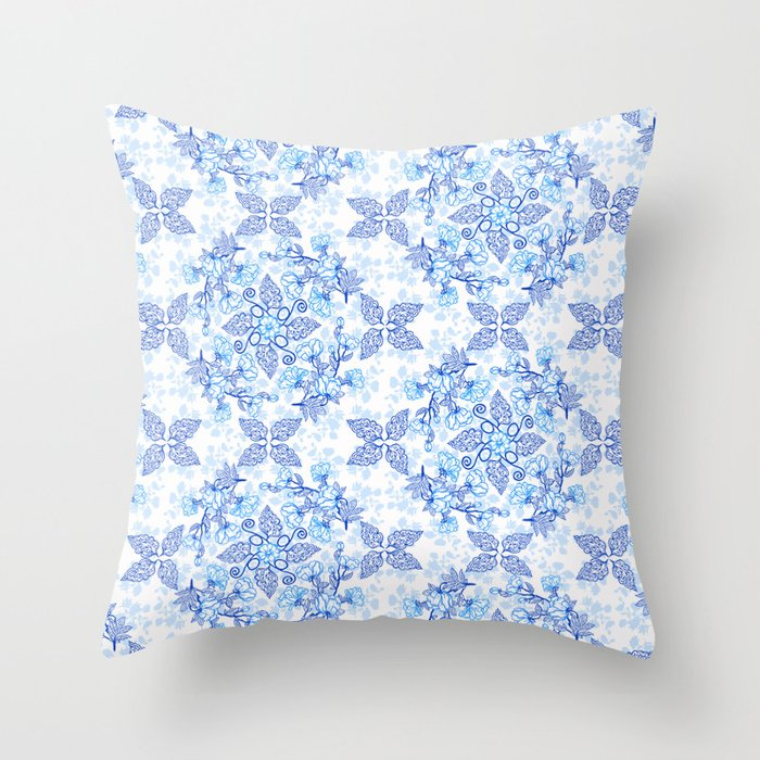 Peonies and Paisley in Blue and White Throw Pillow