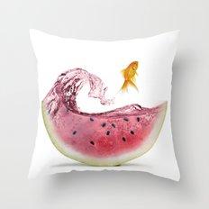 watermelon goldfish Throw Pillow