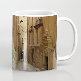 Medieval Narrow Street Tall Buildings And Coach Coffee Mug