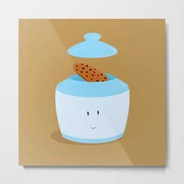Blue cookie jar with cookie Metal Print