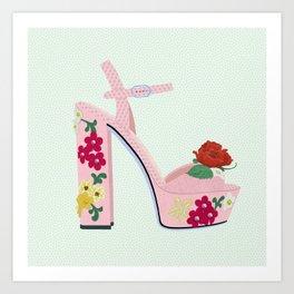 Sexy Heels - Pink Floral Art Print