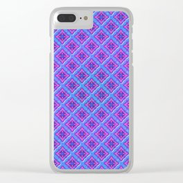 Purple Pillow Puffs Pattern Clear iPhone Case