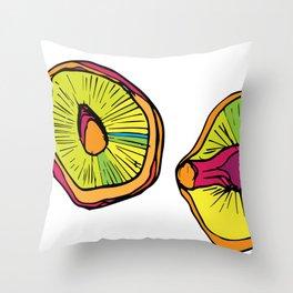 Neon Mushroom Caps Throw Pillow