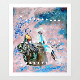 The Lovers In Pink Art Print