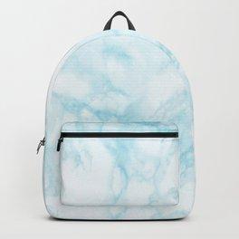 Elegant pastel blue white modern marble Backpack