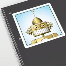 Gold Robot Head Shot Sticker
