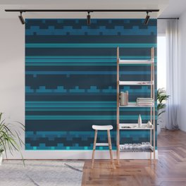 Dark Blue and Teal Stripes with Mixed Patterns Wall Mural