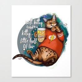 Soft kitty warm kitty little ball of fur galaxy cat Canvas Print