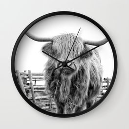 Highland Cow in a Fence Black and White Wall Clock