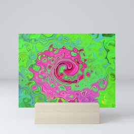 Groovy Abstract Green and Red Lava Liquid Swirl Mini Art Print